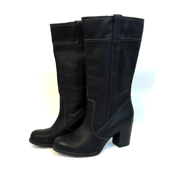 Nido Desnudarse Regresa  Timberland Shoes | Timberland Womens 8 Black Leather Heeled Boots | Poshmark